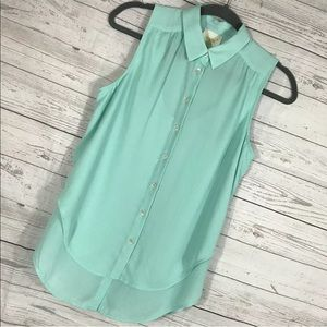 Anthro Maeve Shirt Mint Green Layered Sleeveless 4